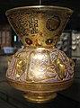 Egitto o siria, lampada da moschea con nome del sultano barquq, 1386, vetro soffiato.JPG