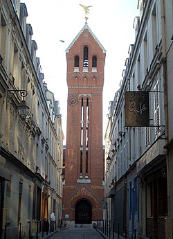 The clock tower of the Church of Saint Michel des Batignolles