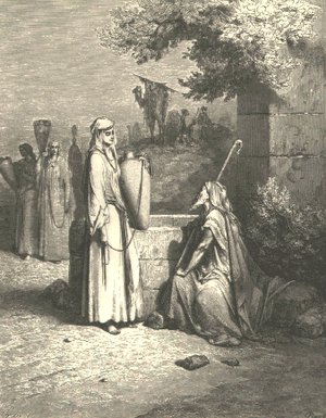 Eliezer and Rebekah (engraving by Gustave Doré...