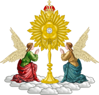 Mariavite emblem composed of two angels and a monstrance
