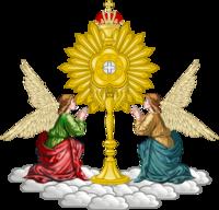Emblema Mariavite composto por dois anjos e uma custódia