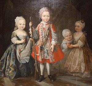 Charles Emmanuel III of Sardinia - The children of Charles and his second wife; (L-R) Eleonora; Victor Amadeus; Maria Felicita and Maria Luisa Gabriella.