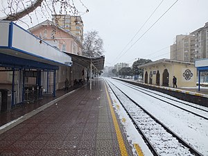 Erenköy railway station - Looking east on a snowy day.