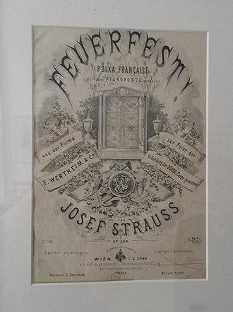 Museum der Johann Strauss Dynastie - Image: Erstausgabe Feuerfestpolka