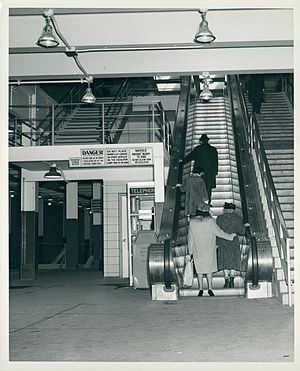 Government Center (MBTA station) - Riders at the recently renovated station in 1964