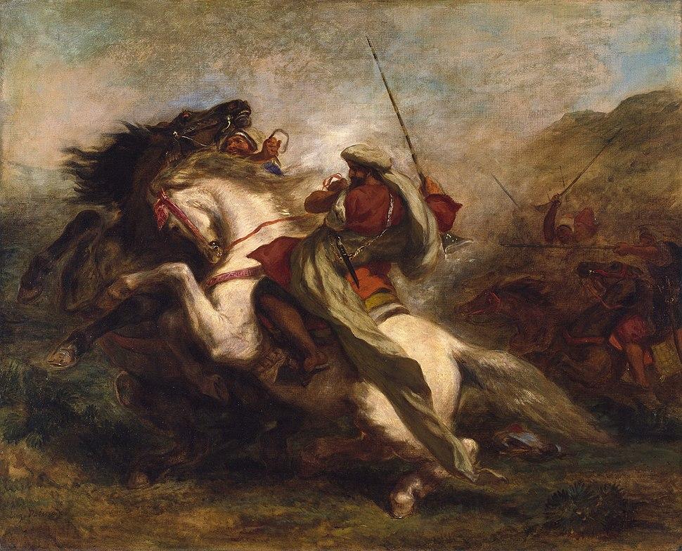 Eugène Delacroix - Collision of Moorish Horsemen - Walters 376