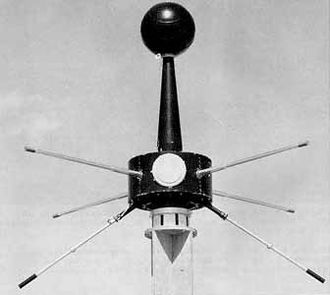 Bruno Rossi - Explorer 10 satellite. The white circular cap covers the opening of the MIT Faraday cup.