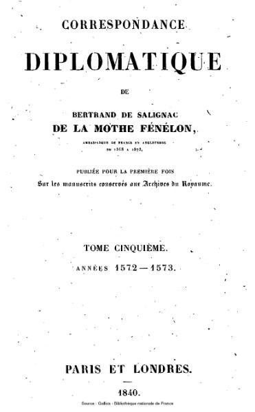 File:Fénelon - Correspondance diplomatique, tome 5.djvu
