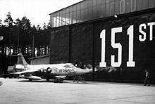 F-104A in front of hangar at Ramstein Air Base, West Germany