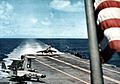 F7U of VA-151 landing on USS Lexington (CVA-16) 1956.jpg
