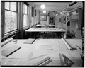 FIRST FLOOR, LOOKING SOUTH, DRAFTING ROOM. - Fairsted, 99 Warren Street, Brookline, Norfolk County, MA HABS MASS,11-BROK,6-8.tif
