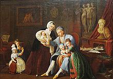 Christoph Martin Wieland mit seiner Frau Anna Dorothea Wieland, sowie den Kindern Sophie Katherine Wieland, Regine Dorothea Wieland, Karl Friedrich Wieland, Maria Karolina Wieland und Amalia Augusta Wieland (Quelle: Wikimedia)