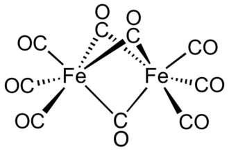 Diiron nonacarbonyl - Image: Fe 2(CO)9no Fe Fe