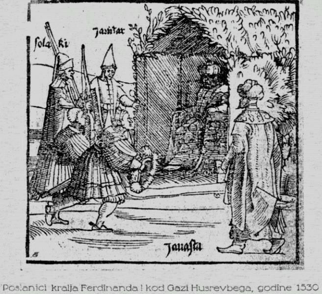Ferdinand I's emissaries meeting Gazi Husrev-beg in 1530