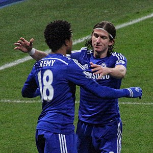 Loïc Rémy - Rémy celebrating with Filipe Luís during Chelsea's FA Cup victory over Watford in January 2015