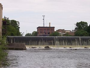 Watertown, Wisconsin - The downstream of Watertown's two dams, with a portion of downtown in the background