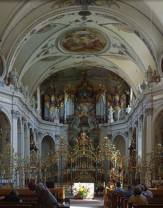 Fischingen Abbey - Interior of the Baroque abbey church.