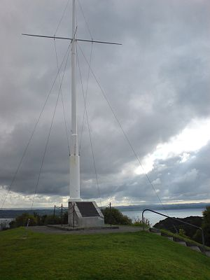 Flagstaff Hill (New Zealand) - The modern-day flagstaff, remnant of the fifth flagstaff.