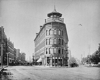 "American Writing Paper Company - The ""Flatiron Building""; originally offices for Parsons Paper Company, it was the AWPC's headquarters from 1899-1952, when it was razed"