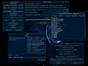 M-Labs - Screenshot of Flickernoise, showing the control panel, the patch editor etc.