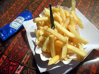 French fries - Pommes frites with a mayonnaise packet