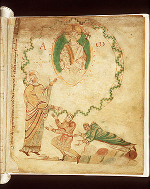 Dirk II, Count of Holland - Dirk and his wife implore Saint Adalbert, illustration from the Egmond Gospels
