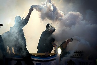 PFC Levski Sofia - Levski Sofia Ultras during a derby match