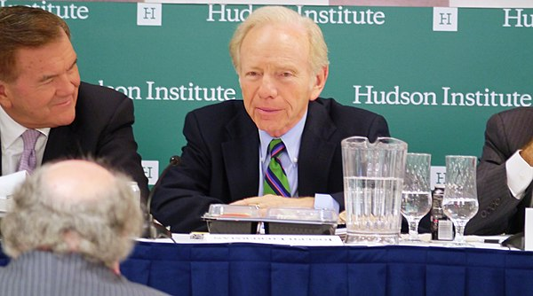 Lieberman addresses with former Secretary of Homeland Security Tom Ridge of the Blue Ribbon Study Panel on Biodefense at Hudson Institute in 2015 Former U.S. Senator Joe Lieberman addresses biodefense with former Secretary of Homeland Security Tom Ridge at Hudson Institute in 2015.jpg
