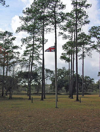 Prospect Bluff Historic Sites - A Union Jack on the site of the original British fort.