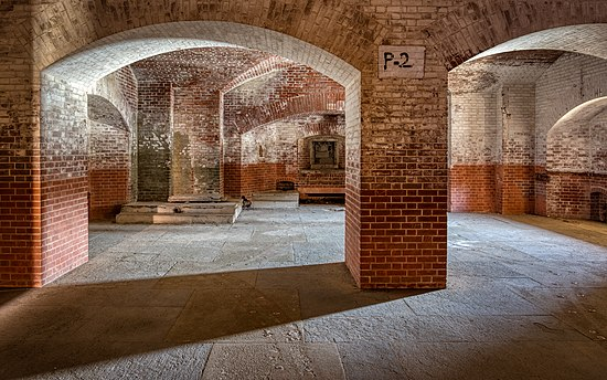 Interior of Fort Point in San Francisco, by Frank Schulenburg.