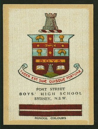 Fort Street High School - A cigarette card from c. 1920 showing the crest and colours of Fort Street Boys' High School