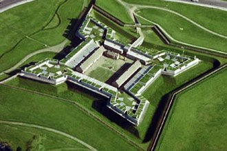 Siege of Fort Stanwix - Aerial view of the reconstructed Fort Stanwix