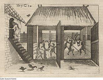 Threshing floor - Threshing and bagging grain in Germany in 1695