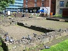 Rovine delle fondamenta del forte romano a Castlefield