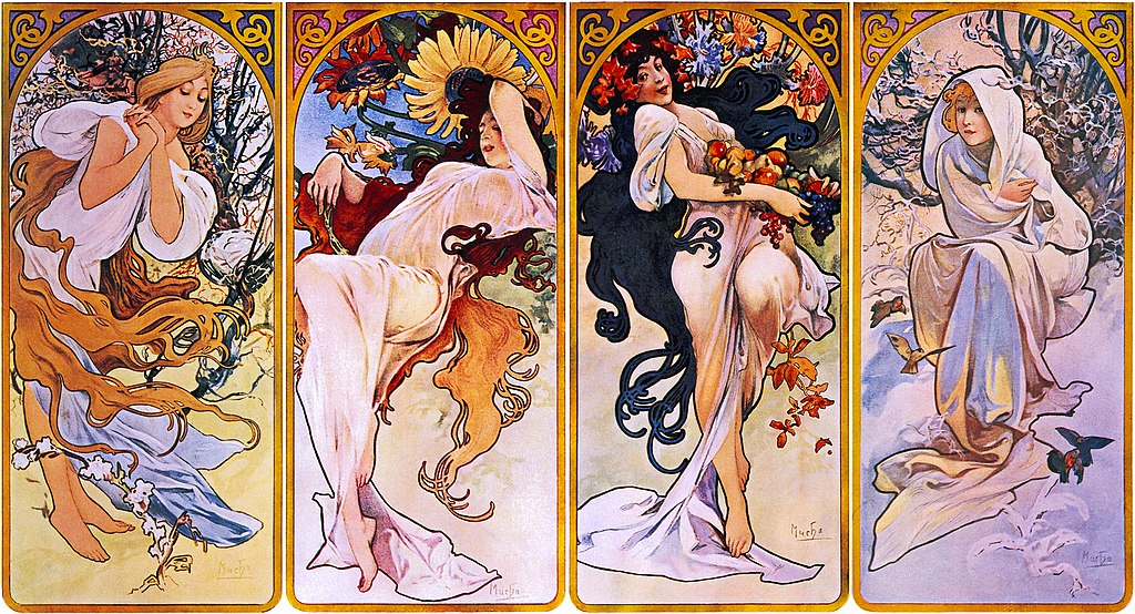 Four Seasons by Alfons Mucha, circa 1897