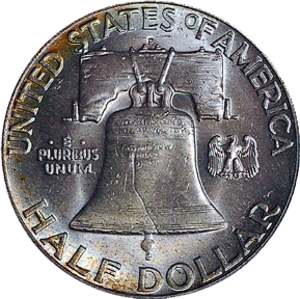 Numismatic history of the United States - Reverse side of a Franklin Half Dollar