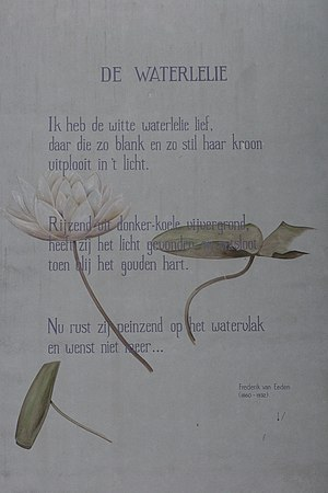 "Frederik van Eeden - ""Waterlilly"" as a wall poem in Leiden"