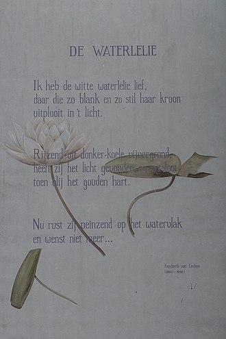 "Frederik van Eeden - ""Waterlilly"" as a wall poem in Leiden"