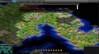 4X - Detailed empire management, seen here in Freeciv, is a central aspect of 4X strategy games.