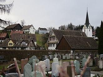 Hirzel - Image: Friedhof und Ortskern Hirzel