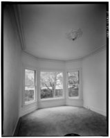 Front parlor, oblique view into bay; view to east-southeast; 65mm lens with electronic flash illumination. - Warner Hutton House, 13495 Sousa Lane, Saratoga, Santa Clara County, HABS CAL,43-SARA,6-15.tif