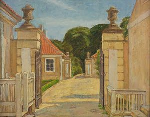 Frydenlund -  Frydenlund's vatehouse painted by Karl Schou in 1915