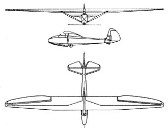 Göppingen Gö 1 - Göppingen Gö 1 Wolf 3-view drawing from L'Aerophile March 1937