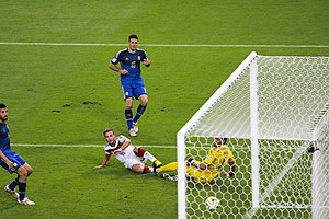 Martín Demichelis - Mario Götze scoring the winning goal for Germany as Ezequiel Garay (left), Demichelis (centre) and goalkeeper Sergio Romero look on during the 2014 World Cup Final