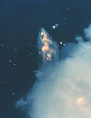 GOES G ends in a fiery explosion as Range Safety destroys the Delta launch vehicle 91 seconds after launch,<br />NASA photo 183px-GOES_G_ends_Spac0243.jpg