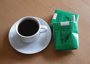 Gauloises - Two packets of Gauloises vertes (nicotine-free), with an espresso