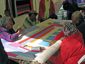 Quilting - Women of Gee's Bend, Alabama quilting, 2005