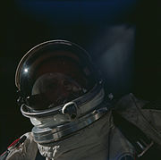 Gemini XII EVA with Buzz Aldrin and the Earth in his visor's reflection