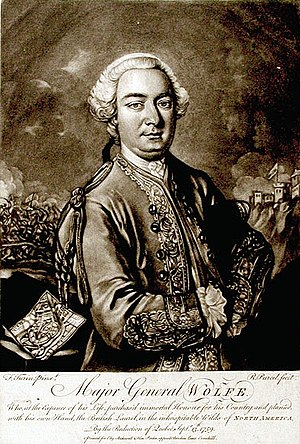 Battle of the Plains of Abraham - A portrait of Wolfe printed circa 1776