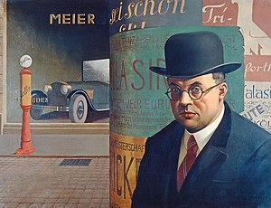 Georg Scholz - Self-Portrait in front of an Advertising Column, 1926